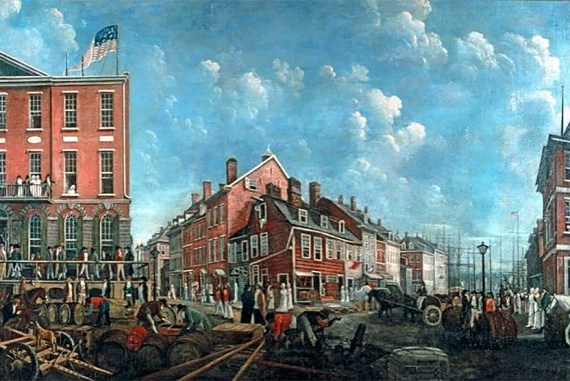 Wall Street in the 1790s. (Collection of The New-York Historical Society)