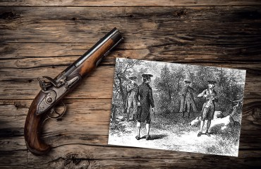 Photo © Jagcz, Dreamstime.com; Inset: A similar scene depicting what initially occurred at the duel between Thomas and McDougall. The necessary Doctor Dunham and the impartial observer, Captain Bloomfield, would be close by, but out of view.