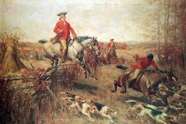 A painting by John Ward Dunsmore of George Washington during a foxhunt in Virginia. (Fraunces Tavern Museum)