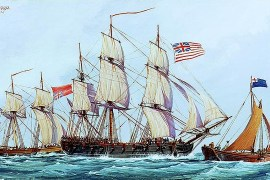 Continental ship Columbus with captured British brig Lord Lifford, 1776 (Wikimedia Commons)