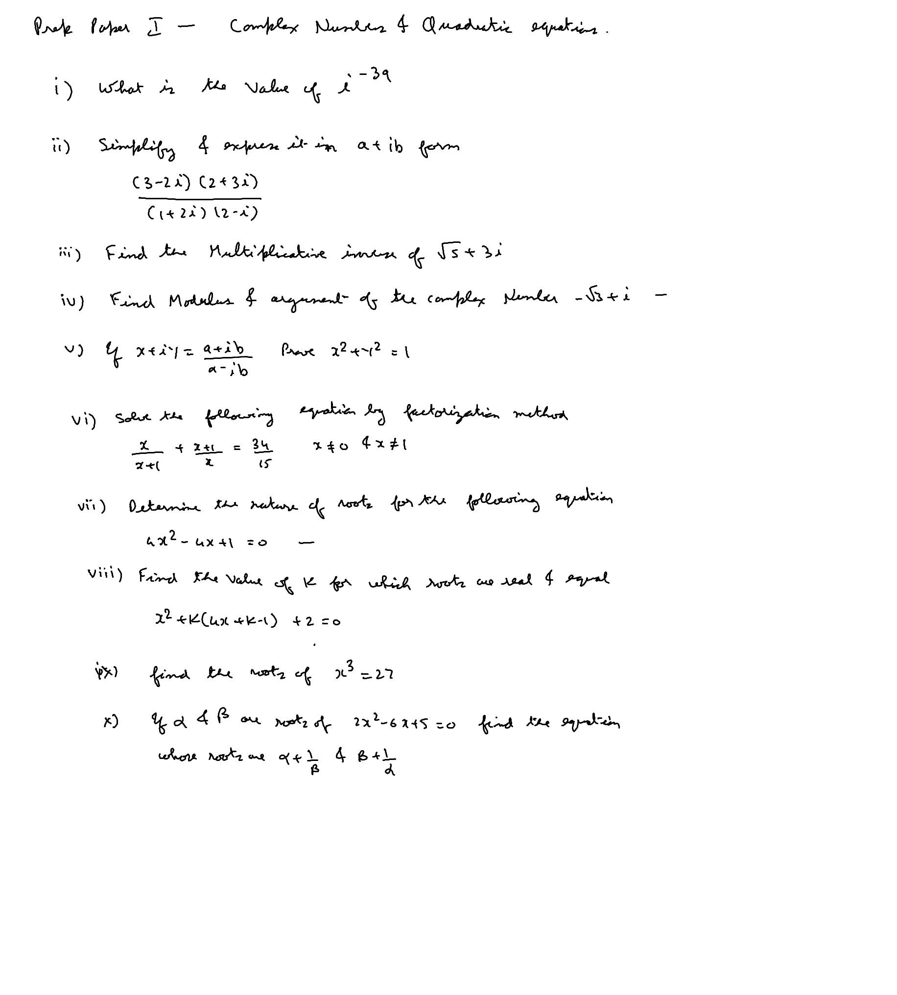 Nios Prep Test 1 Complex Numbers And Quadratic Equations