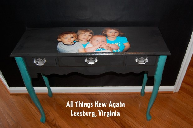 Decoupage Family Photo onto Furniture | Photo Decoupaged Onto Table | All Things New Again