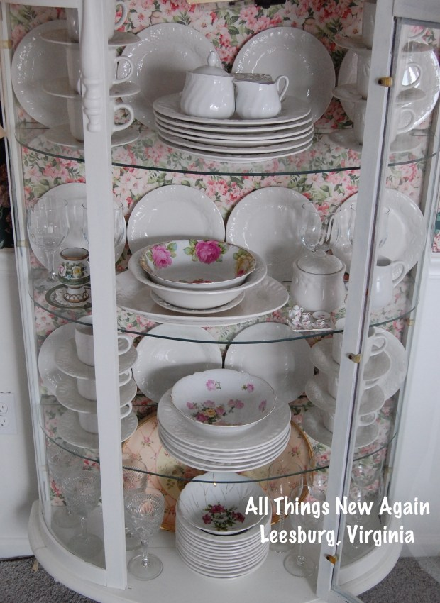 White China Cabinet with Floral Backing | China Cabinet Redo Idea | See the tutorial at AllThingsNewAgain.net