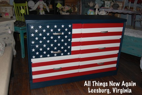 How to Paint A Patriotic American Flag Dresser by All Things New Again