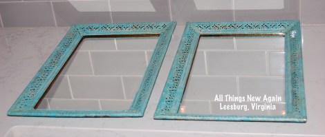 turquoise mirror trays