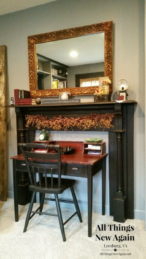 vintage fireplace mantel used around desk