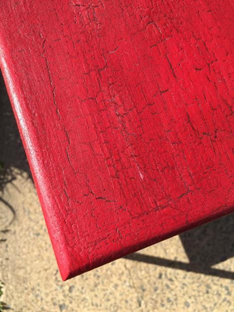 milk paint table crackle closeup