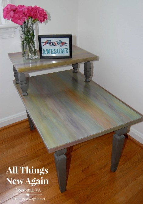 Mid-centure table updated with colorful Unicorn Spit rainbow gel stain at All Things New Again, Leesburg, VA.