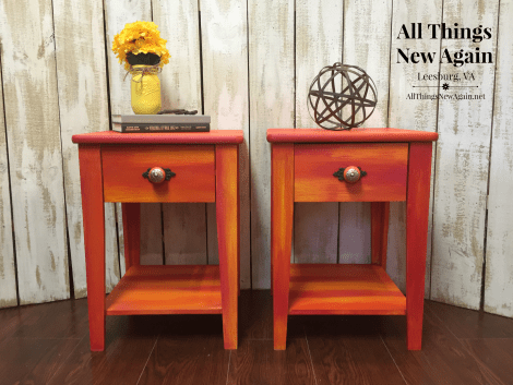 Pretty Painted Nightstands | Unicorn Spit rainbow stain and glaze | Furniture Makeover | Painted Furniture | Bedroom Furniture Ideas