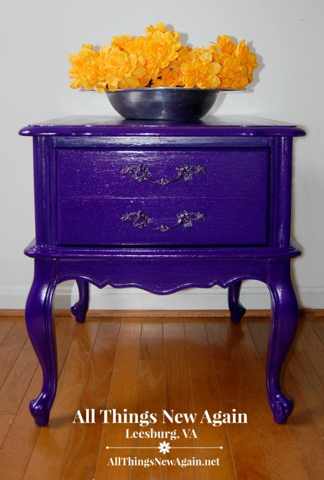 Dixie Belle Paint Company | Chalk and Mineral Paint | Amethyst | Purple Painted Furniture Ideas | French Provincial nightstand painted purple | All Things New Again, Leesburg VA