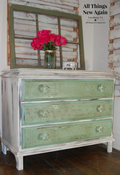 Green Furniture Makeovers | Vintage Dresser | Painted Furniture | Decoupage Dresser Drawers