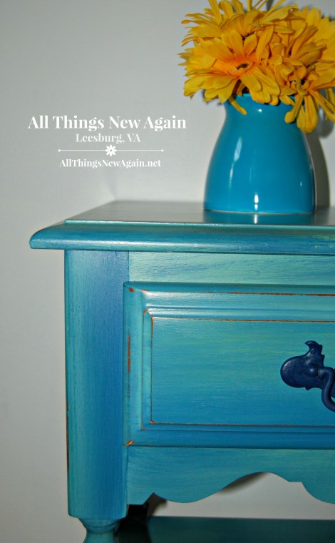 Painted Nightstand | Dixie Belle Paint | Blended Paint Technique | Painted Furniture | Blue | All Things New Again