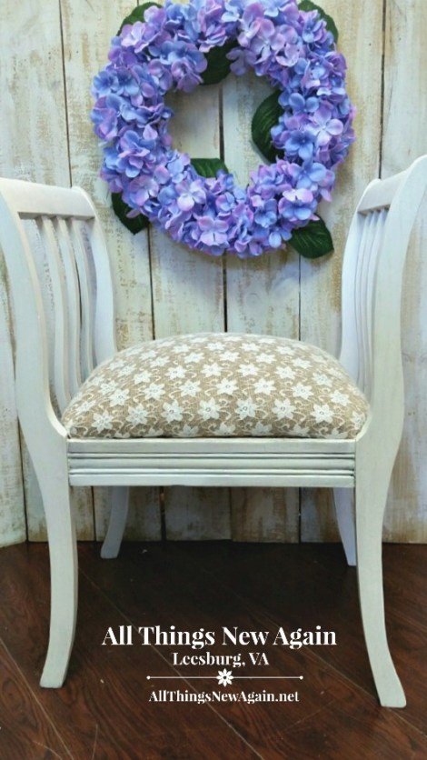 Painted Furniture Makeover | Vintage Bench | How to Re-Cover a Chair Seat | Burlap and Lace Chair Seat | Rustic and Elegant Chair Makeover | Dixie Belle Paint Co | chalk and mineral paint | Cotton | farmhouse white furniture