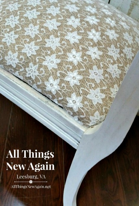 Painted Furniture Makeover | Vintage Bench | How to Re-Cover a Chair Seat | Burlap and Lace Chair Seat | Rustic and Elegant Chair Makeover
