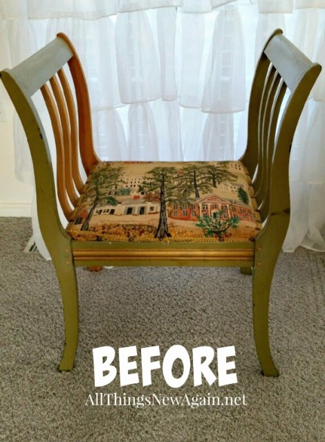 Painted Furniture Makeover | Before Shot | Vintage Bench | How to Re-Cover a Chair Seat