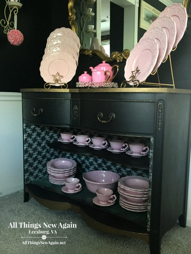 Black Buffet With Glam Gold Trim | All Things New Again | Leesburg VA
