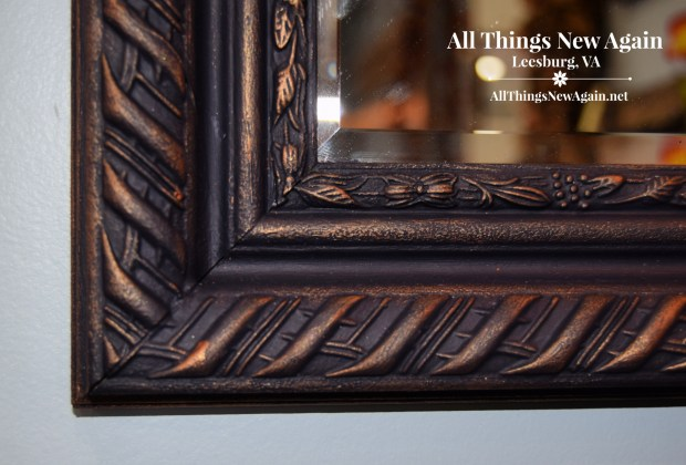 Vintage Mirror Frame | Dixie Belle Paint | In the Navy | Navy Blue | Bronze Gilding Wax | Navy and Bronze