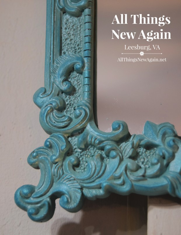 Vintage Mirror Frames | Dixie Belle Paint | The Gulf | Turquoise Teal Gilding Wax | Blue Frame