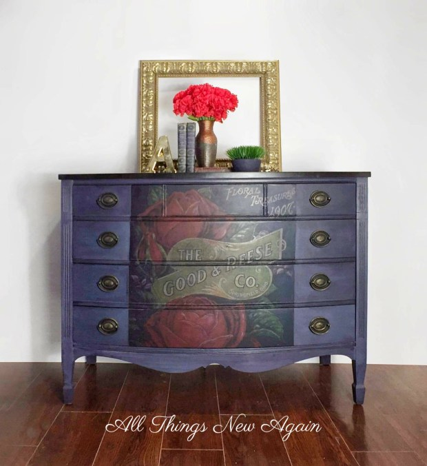 Vintage dresser painted navy blue with red roses on front