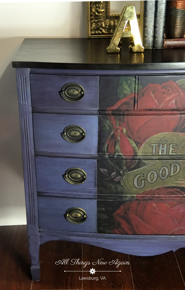 Real Milk Paint Co   RMP   Navy Blue Furniture   Redesign with Prima   Furniture Transfer   Vintage Dresser   All Things New Again