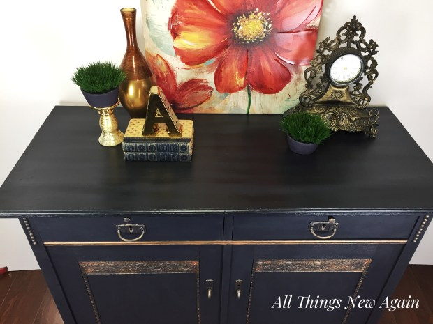 Elegant Painted Furniture | Painted Furniture Makeover | Navy Blue Furniture | Dixie Belle Paint | All Things New Again