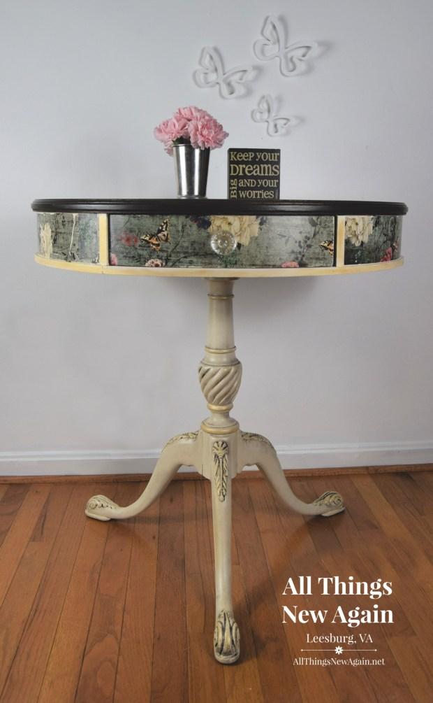 Vintage Drum Table   All Things New Again   Rustic Teal