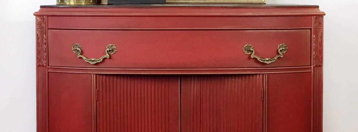 Red Painted Buffet | Dixie Belle Paint Classes | Northern Virginia