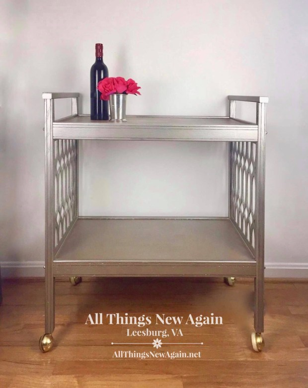 Dixie Belle Paint | Moonshine Metallics | metallic silver bar cart | All Things New Again | 2019 painted furniture