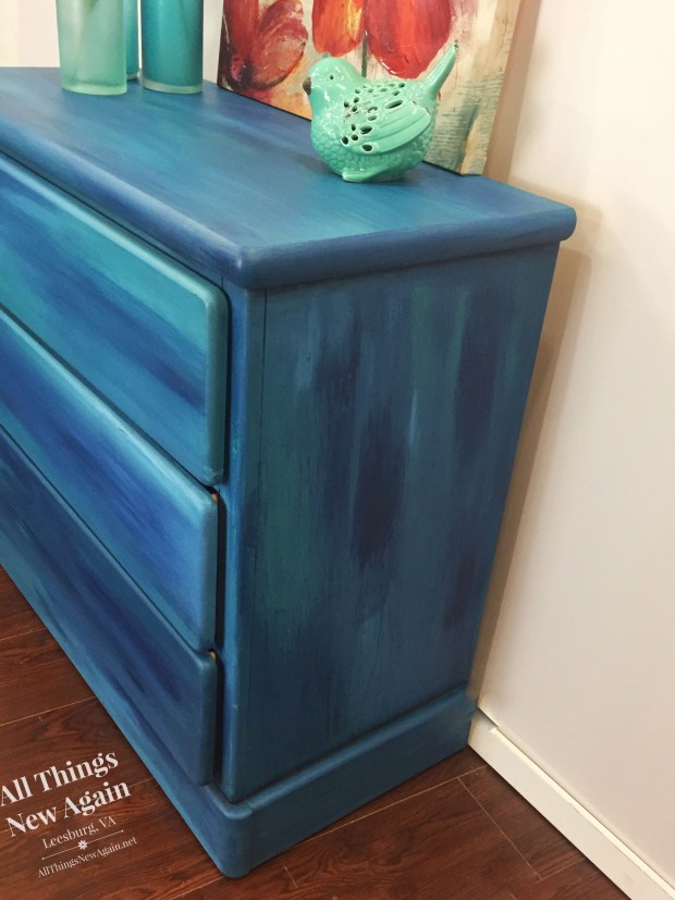 Dixie Belle blues blend together beautifully on this dresser.