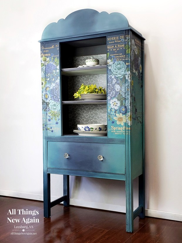 Boho Blue China Cabinet with Flowers   Vintage China Cabinet painted blue   China Cabinet for Sale   Curio Cabinet   Hutch