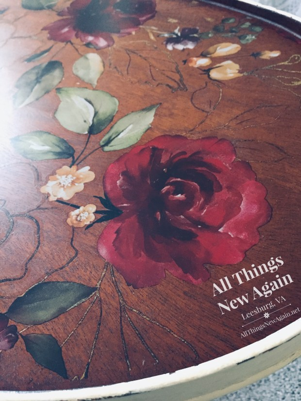 ReDesign with Prima | furniture transfers on stained wood | Midnight Floral furniture transfer | red rose on stained tabletop