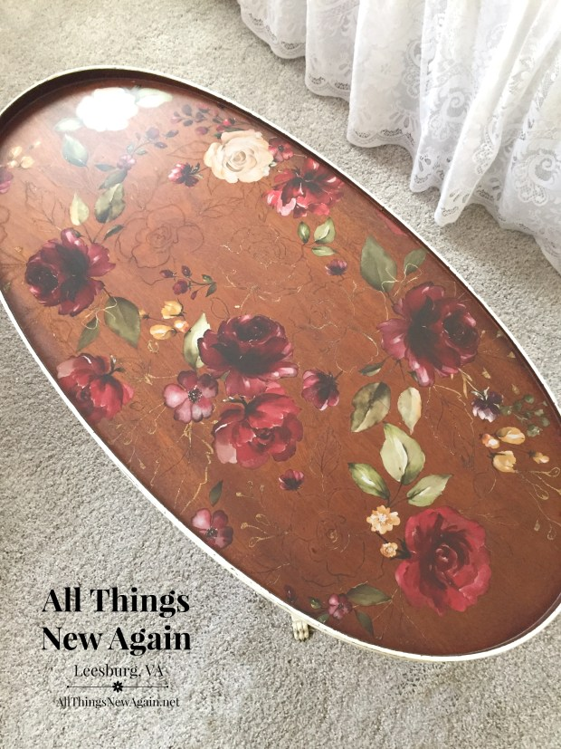 Stained tabletop with Midnight Floral transfer by ReDesign with Prima | By All Things New Again