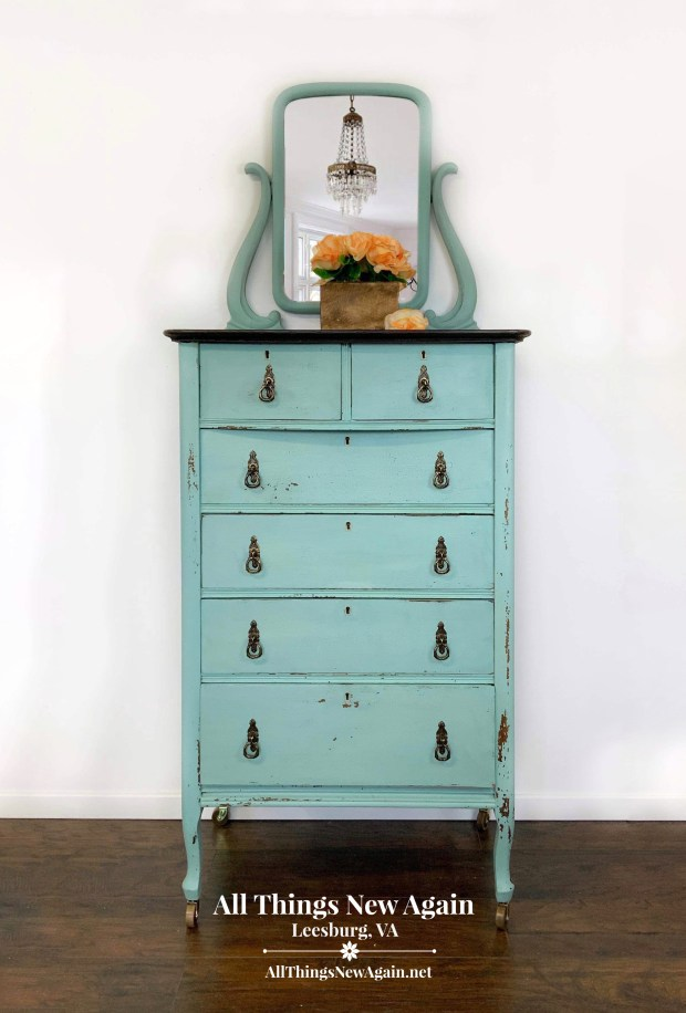 Chippy Blue Dresser | Aqua Dresser | Blue Milk Paint Chest of Drawers
