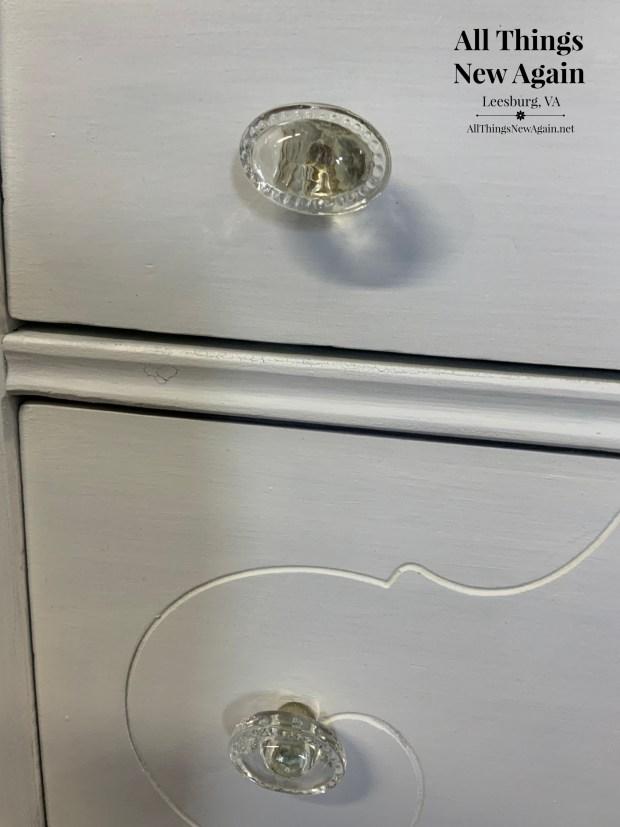 Hardware on Farmhouse White Dresser