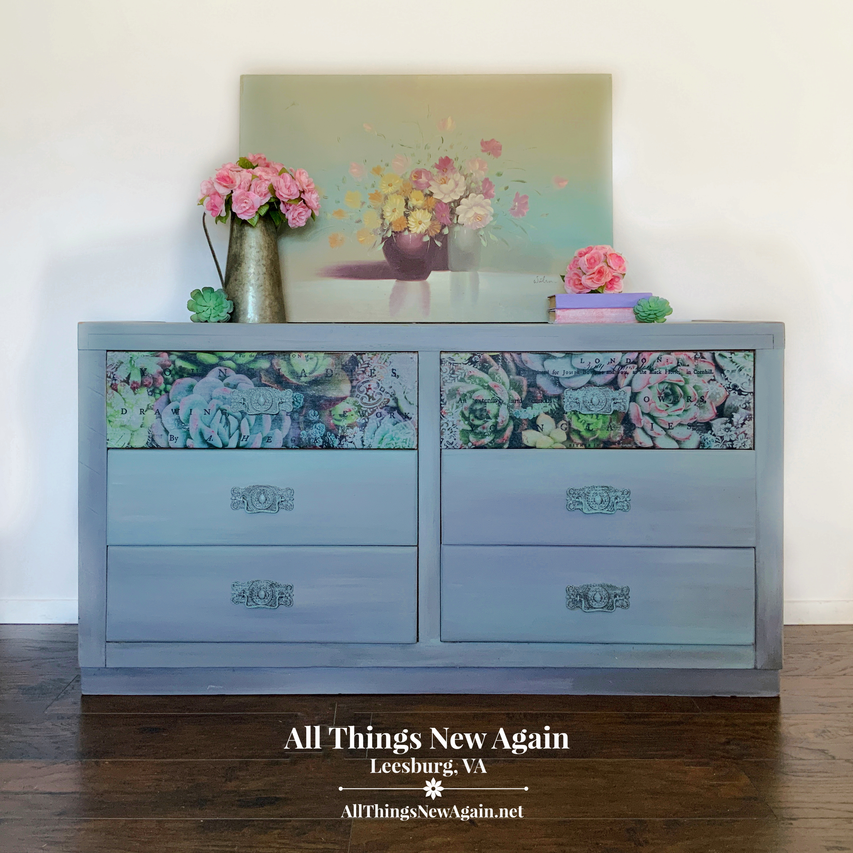 Rustic Gray Dresser | Dresser with Succulents on Drawers