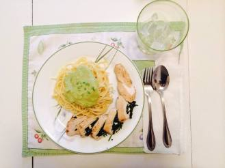 Avocado Pasta and Spinach-Stuffed Chicken Breast. Pasta by Nikko