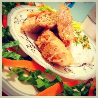 Cha Gio (Vietnamese SPring Roll on Vermicelli) with Nuoc Cham