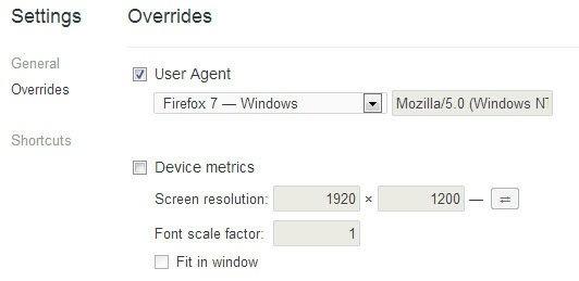 Google Chrome user agent hack