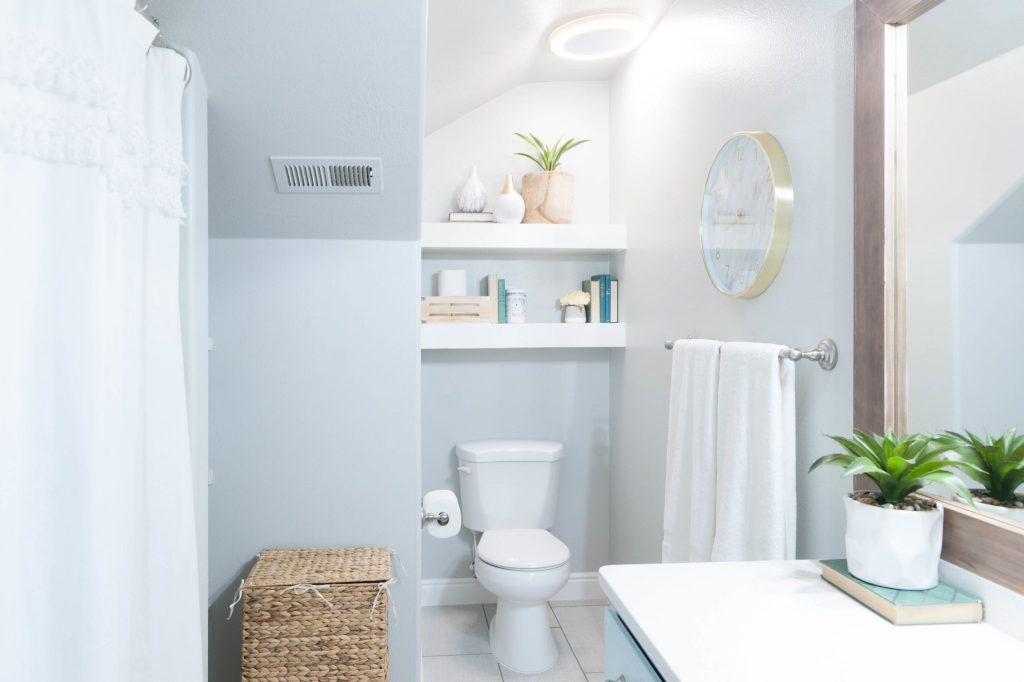 Kids' Bathroom Remodel With Pops Of Light Turquoise