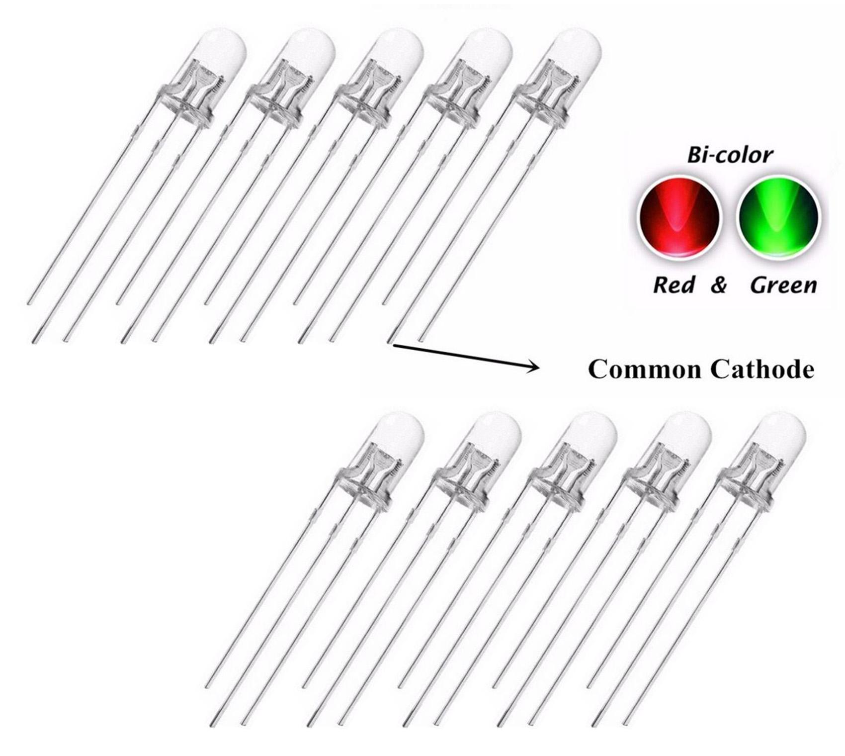 10 X 5mm Led Bi Colour Red Amp Green Clear Common Cathode
