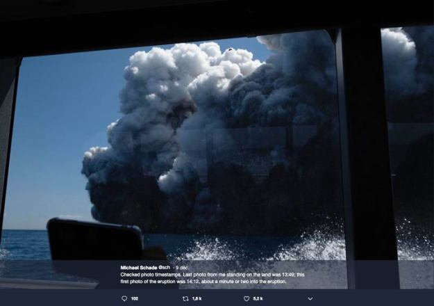 Michael Schade image from the boat as the volcano erupts