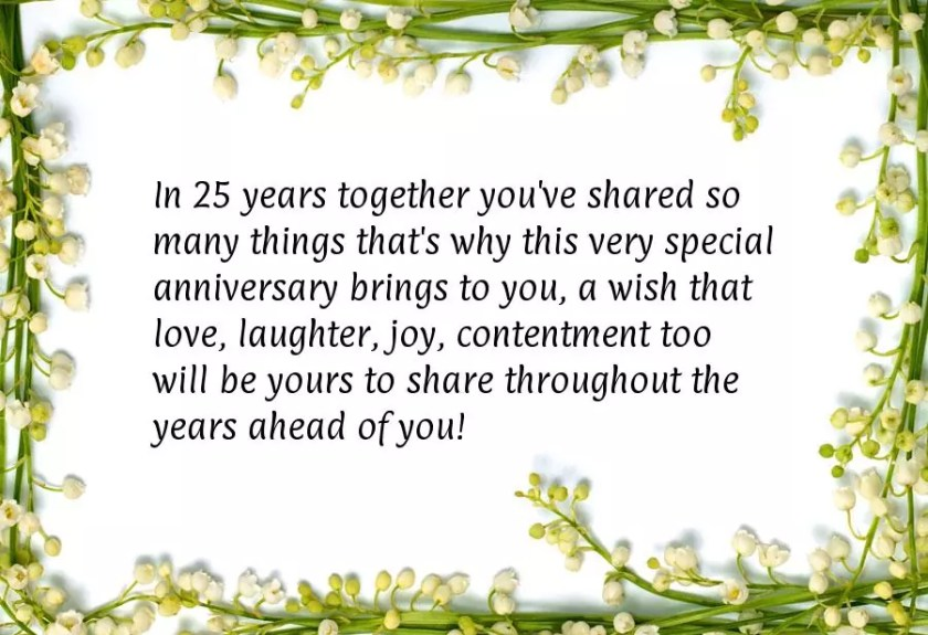 25th Anniversary Card Sayings
