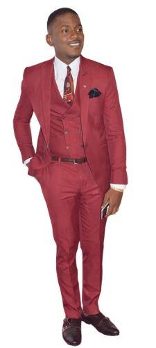 wine colour three piece suit accessorised with matching monk strap pair of shoes