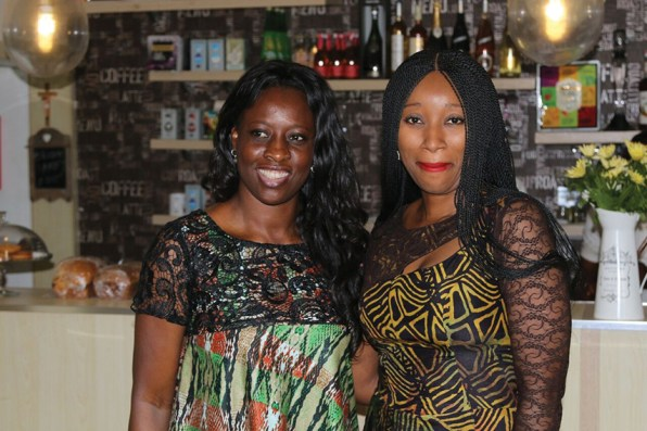 Ronke Ademiluyi (r) with a guest