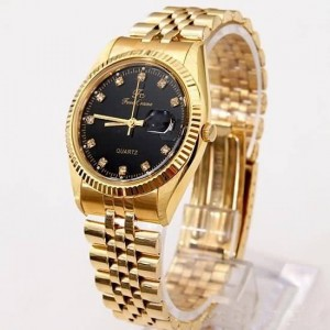 Black-Face-Crystal-Gold-Wrist-Watch