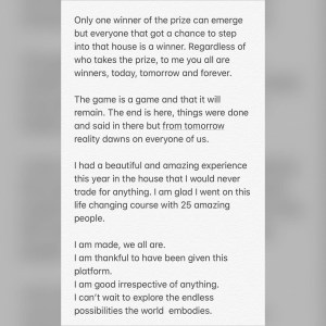 BBNaija's Tacha writes sweet notes to the top 5 housemates,