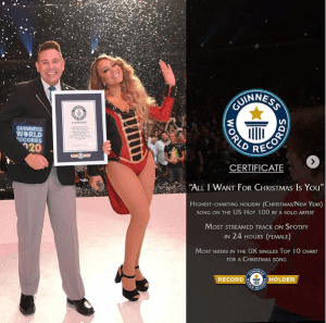Mariah Carey breaks Guiness world record