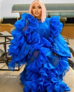 Halima Abubakar on royal blue.