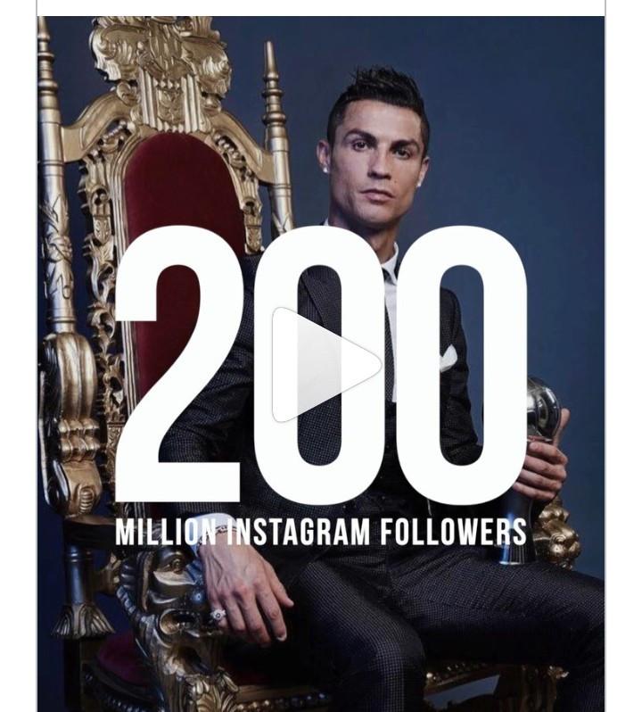 Cristiano Ronaldo celebrates 200 million followers on Instagram