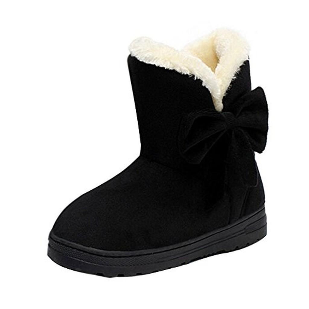 Minetom Bottes De Neige Femme Bowtie Boots Avec Epais